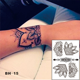 Wholesale Temporary Tattoo Patterns - #BH-15 BeautifuL Half Lotus Black Henna Temporary Tattoo with Arrow Pattern Inspired Body Sticker