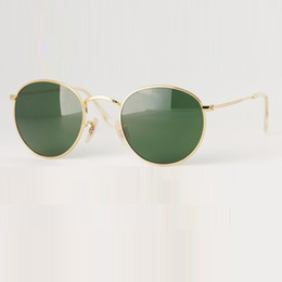 Wholesale Gold Lens Sunglasses - New Round Metal Sunglasses Designer Eyewear Gold Flash Glass Lens For Mens Womens Mirror Sunglasses Round unisex sun glasses