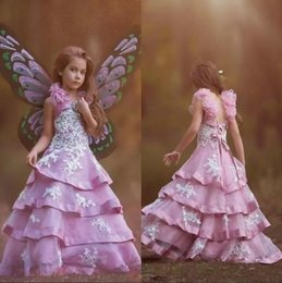 Wholesale Teen Skirts - 2018 Pink Tiered Skirts Flower Girl Dresses With Lace Appliques Beaded Straps Spaghetti Lace Up Floor Length Girls Pageant Gowns For Teens