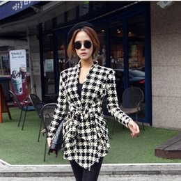 Wholesale Wholesale Women S Peplum Jacket - Wholesale- GZDL Fashion Spring Autumn Jacket Women Long Sleeve Houndstooth Print Top Casual Slim Belt Peplum Cardigan Coat Outerwear CL0271