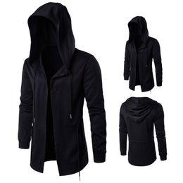 Wholesale Trench Coats Sale - Hot Sale Black Long Men's Trench Coats Wholesale European American Trendy Coats With Hooded oversize Sorcerer Cloak