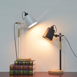 Wholesale Folding Book Holder - American Table light Flexible Swing Arm Desk Lamp Arm Folding Study Book Reading Light E27 Holder Dimmer Switch