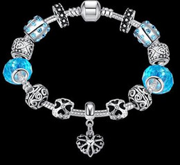 Wholesale Antique Sterling Bangle - Antique 925 Silver Charm Bangle & Bracelet with Love and Flower Crystal Ball Women Wedding Valentine's Day Gift Chain Length: 20 Cm