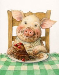 Wholesale Pig Decor - New diy diamond painting cross stitch kits resin pasted painting full square drill needlework Mosaic Home Decor animal pig zf0013