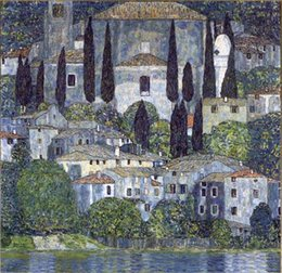 Wholesale Oil Painting Framed Abstract Building - Framed Gustav Klimt Church in Cassone Handpainted Abstract Landscape & Building Art Oil Painting,On High Quality Canvas Wall Art Multi size