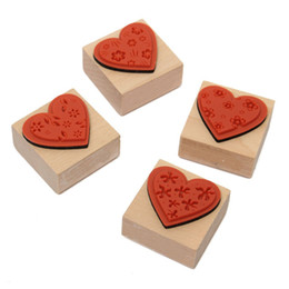 Wholesale Craft Stamp Sets - Wholesale- The Best Price DIY Full 4PCS Set Flower Love Diary Decoration Wooden Rubber Stamp Craft Excellent Quality