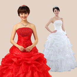 Wholesale Korean Sequin Dresses - Korean Lace Up Ball Gown Strapless Pearl Wedding Dresses 2017 Plus Size Red And White China Bridal Gown Cheap Wedding Dress Free Shipping