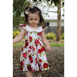 Wholesale Rose Print Skirt - 2017 Ins flower cotton backless girls floral beach dress cute baby summer backless tutu rose skirt 1-6Y lapel kid clothing factory toddler