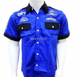Wholesale Ford Single - Wholesale- F1 fashion suit blue ford short-sleeved shirt embroidered shirts