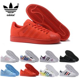 Wholesale China Shoes Women Running - Adidas Originals Men Women Superstar 80S Casual Shoes 2017 New Cheap Skate Shoes 17 Color China Red Fashion Sports Shoes Size 5-11