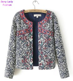 Wholesale Thin Quilted Jacket - Wholesale- Hot Sale Women's Red Embroidery Contrast Floral Print Paisley Jacket Ladies O neck Long sleeve Quilted Thin Padded Coats Suits