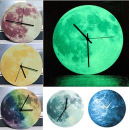 Wholesale Fluorescent Clock - 2017 new 3D Luminous Large Moon Fluorescent Wall clock Removable Glow In The Dark watch clocks quartz 30CM big size drop ship