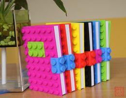 Wholesale Wholesale Vintage Diary - Unique Creative Building Blocks Note Book A6 Size Colorful Notebook Silicone Building Block Diary Vintage Composition Book DHL Free