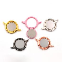 Wholesale Metal Rings Wings - Universal Metal Angel Wings Mirror Finger Ring Holder Magnetic Car Bracket Phone Stand For Samsung Huawei Mobile Phones