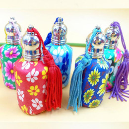 Wholesale Coloured Glass Bottles - 15ml Glass Perfume Essential Oil Roll On Bottle Multicolor Empty Coloured Pottery Cosmetic Containers fast shipping F20171850