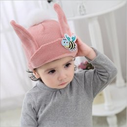 Wholesale Knitted Beanies For Babies - Boys Girls Hats Poms Beanie Kids Fur Pompom Animal Bees Baby Winter Wool Knitted Warm Caps For Children 50pcs Free Shipping