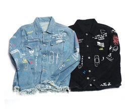 Wholesale Denim Jacket Men Print - High quality men male blue printing top fashion casual denim yeeus jacket ripped destroyed Kanye west clothing casual coat hip hop