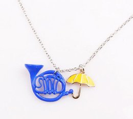 Wholesale French Horn Necklace - 10pc a lot HIMYM How I Met Your Mother Yellow Umbrella mother Blue French Horn Necklace for man woman Retro Jewelry