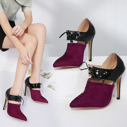Wholesale Hot Sexy Heels Cheap - Hot style joint color cut-outs knot high heeled sexy elegant shoes party dress shoes cheap with high quality