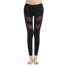 Wholesale black leggings mesh - New Fashion Women Breathable Yoga Leggings Mesh Splicing Yoga Pants S-XL Black High Waist Fitness Ninth Yoga Pants