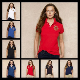 Wholesale Women S Classic Clothing - New Summer Women Brand Polo Clothing Solid Famous Top Small Horse Embroidery Women Polo Shirts Pique Business Casual Sportswear Breathable