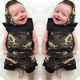 Wholesale 4t Camouflage Clothes - ins summer new arrival ins baby boys sleeveless camouflage hoodies + PP Pants 2pc set outfits baby ins clothing wholesale
