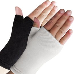 Wholesale Gloves Arthritis - Wholesale- Ultra Thin Breathable Man Woman Half Finger Gloves Elastic Wrist Supports Arthritis Brace Sleeve Support Sports Absorb Sweat Hot