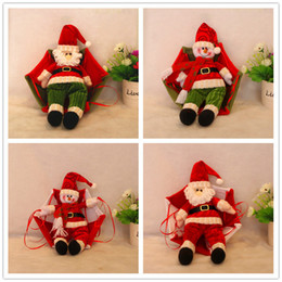 Wholesale christmas parachute santa - Christmas Decoration Pendant Non woven Lovely Santa Claus Coming With Parachute Vintage Christmas Ornament Decor Gifts