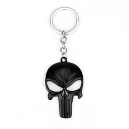 Wholesale Punisher Mask - 20PCS Lot HOT SELL The Punisher Skeleton Mask Keychain Export Agent Accepted