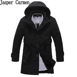 Wholesale Korean Mens Wool Coat - Wholesale- Free shipping Winter Korean single Breasted Jacket Mens Hooded cotton Trench Coat Patchwork Overcoat Wool Coat 118hfx