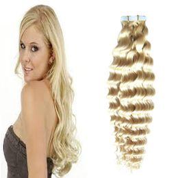 Wholesale Seamless Tape Hair - 613 Blonde virgin hair Human Tape in kinky curly human hair extensions 50g 20pcs set Skin Weft seamless Human Hair