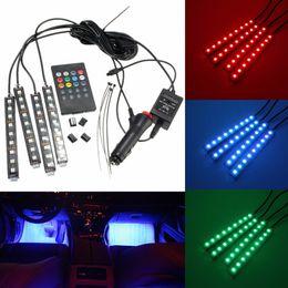 Wholesale Floor Lighting Strips - 4 in 1 9 LED Multi Color Car Auto Neon Light Door Atmosphere Wireless Remote Control RC Interior Floor Pathway Strip Lights Lamps