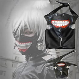 Wholesale Leather Masking - New Clearance Tokyo Ghoul 2 Kaneki Ken Mask Adjustable Zipper Masks PU Leather Cool Mask Blinder Anime Cosplay