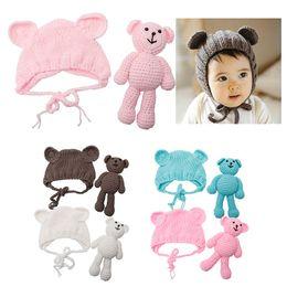 Wholesale Shower Costumes - Hot! Newborn Baby Girl Newborn Size Baby shower Gift Boy Photography Prop Photo Crochet Knit Costume Bear +Hat Set