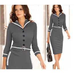 Wholesale Elegant Work Wear - Womens Bodycon Pencil Dresses Sailor Collar Panelled Office Lady Work Dresses Cotton Plain Elegant Ladies Dresses