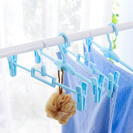 Wholesale Wholesale Slip Towel - 4 loaded Factory direct sales Hanger clip Home Strong Trousers Non-slip plastic Drying hangers Bold With clip Trouser Press