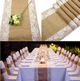 Wholesale Wholesale Printed Table Linens - Vintage Burlap Table Runner with Lace for Wedding Linen Tablecloth Wedding Decor Lace Table Runners Home Table Decor for Party