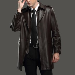 Wholesale Korean Style Clothes Men - Spring autumn male leather long blazer coat clothing Korean style male black brown color high quality long leather jacket outfit outerwear
