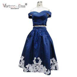 Wholesale Vestido Longo Peplum - VARBOO_ELSA 2017 Hot Sale v-neck Cap Sleeve Black Long Prom Dress 2017 vestido de festa longo two piece dresses tea length evening gown