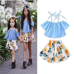 Wholesale Girls Skirt Coat - INS style Europe and America new styles Hot selling girl Summer 2 pieces set Strapless Blue sling coat+ Floral skirt girls Cotton sets