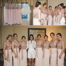 Wholesale Bling Wedding Sashes - Rose Gold Sequins 2018 Bling Bridesmaid Dresses V Neck Sashes Floor Length Chiffon Plus Size Plus Size Maid Of Honor Wedding Guest Dress