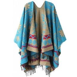 Wholesale Irregular Knitwear - Wholesale- Autumn Winter Tassel Pashmina Shawl Wrap Bohemia Oversized Knit Batwing Sleeve Sweaters Coat Knitwear Irregular Cardigan Blue