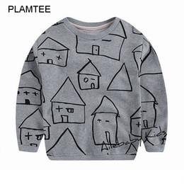 Wholesale Full House Children - Wholesale- 2016 Autumn New Moleton Infantil Boys Girls Children Clothing Unisex Sweatshirts T Shirt Lovely House Printed Hoody for Kids T