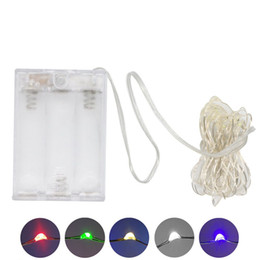 Wholesale Wholesale Battery Lights - AA Battery Power Operated LED Copper Silver Wire Fairy Lights String 50Leds 5M Christmas Xmas Home Party Decoration Seed Lamp Outdoor