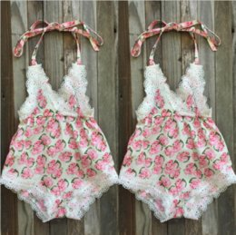 Wholesale Overalls Girls Kids - Little Baby Romper Overall Kids Girl Boutique Clothing Toddler Outfit Floral Jumpsuit Next Kid Clothes Playsuit Infant Pajamas