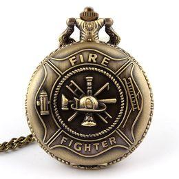 Wholesale Relogio Bolso Vintage - Wholesale-Retro Bronze Fire Fighter Control Quartz Pocket Watch Vintage Necklace Pendant with Chain Men Gifts relogio de bolso
