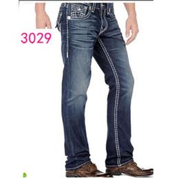 Wholesale Men Hot Pant Jeans - fashion Good quality NEW hot Men's Robin Rock Revival true Jeans Crystal Studs Denim Pants Designer Trousers Men's size 30-40