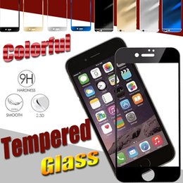 Wholesale Shock Absorption - Colorful Tempered Glass Screen Protector Color Plating Mirror Front and Back Glass Film Ultimate Shock Absorption For iPhone 7 Plus 6 6S 5S