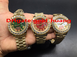 Wholesale Gold Chronograph Mechanical - NEW Luxury 43mm Gold Big diamond Mechanical man watch (Red, green, white, blue, gold) dial Automatic Stainless steel men's watches