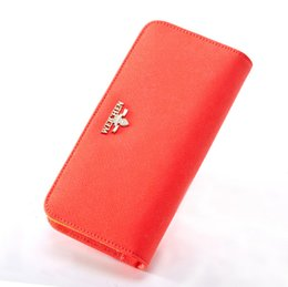 Wholesale Money Clip Wallet For Women - Zipper Walelts Real Leather Clutch for Women Candy Color Purse Fashion New Money Clip Factory Price